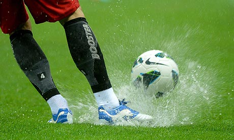 wet football pitch
